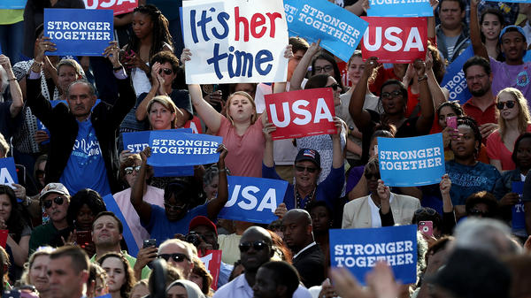 Young supporters listen as Democratic presidential nominee Hillary Clinton campaigns at a Get Out the Vote Rally at Pitt Community College Thursday in Winterville, N.C.