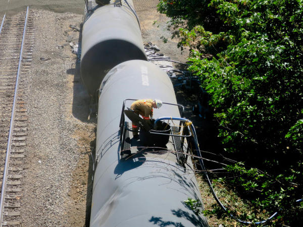 <p>Cleanup efforts continued on Monday, June 6, 2016, at the site of an oil train derailment in Mosier, Oregon.</p>