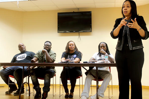 Aramis Ayala moderates a panel of community leaders at a get-out-the-vote event in a predominantly black neighborhood in Orlando, Fla.