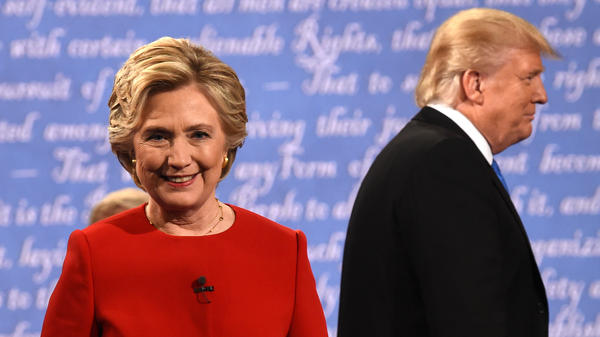 Hillary Clinton leaves the stage after the first presidential debate at Hofstra University in Hempstead, N.Y., on Sept. 26, 2016.