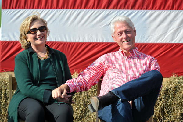 Hillary and Bill Clinton attend the 37th Harkin Steak Fry on Sept. 14, 2014, in Indianola, Iowa.