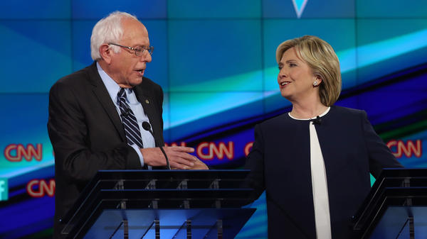 Bernie Sanders and Hillary Clinton take part in the first Democratic presidential debate on Oct. 13, 2015 in Las Vegas, Nev.