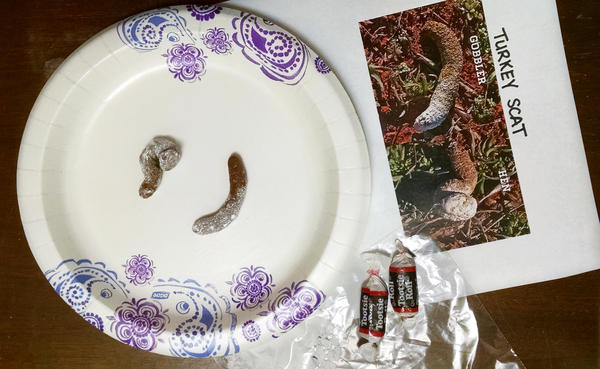 All you need to make edible turkey scat is a good picture of the real scat, a few tootsie rolls, and some powdered sugar!