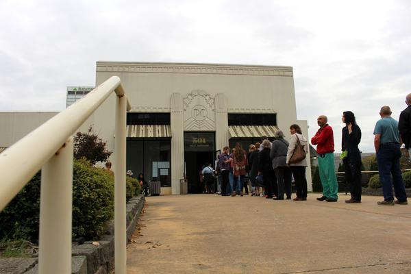 Two lines wrapped around the Pulaski County Regional Building on the last day of early voting before noon.