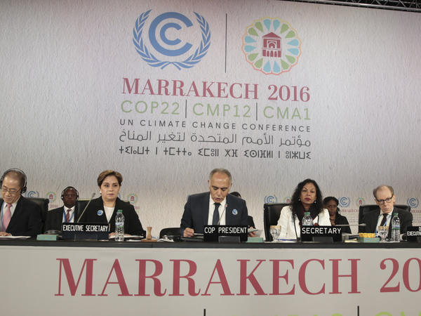 International officials at the opening session of the climate conference in Marrakech.