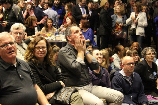 Anxiety on the faces of Democrats watching early returns at the Westin Hotel in Seattle.
