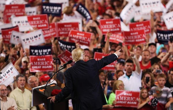 Donald Trump speaks to a large group of supporters on Sept. 27, in Melbourne, Fla. Trump racked up a clear majority in the Electoral College.