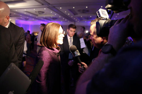 Oregon Gov. Kate Brown celebrated her victory over Republican Bud Pierce at the Oregon Convention Center in Portland Tuesday night.