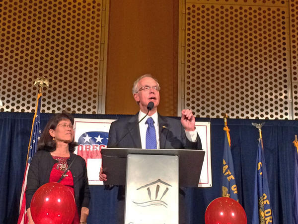 Republican Bud Pierce delivered a concession speech at the Salem Convention Center Tuesday night.