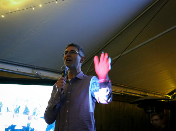 Campaign co-chair Yoram Bauman addresses supporters of the failed Washington state carbon tax measure at a craft brewery in Seattle.