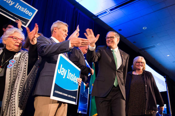 Washington Gov. Jay Inslee held a large lead over Republican challenger Bill Bryant as of midnight.