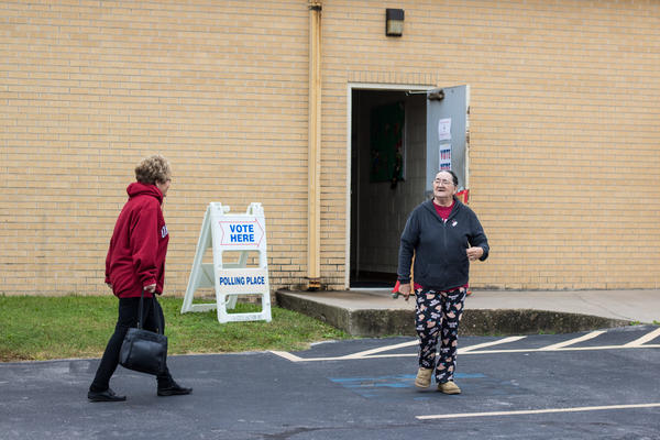Voters leave a polling location in south Oklahoma City.