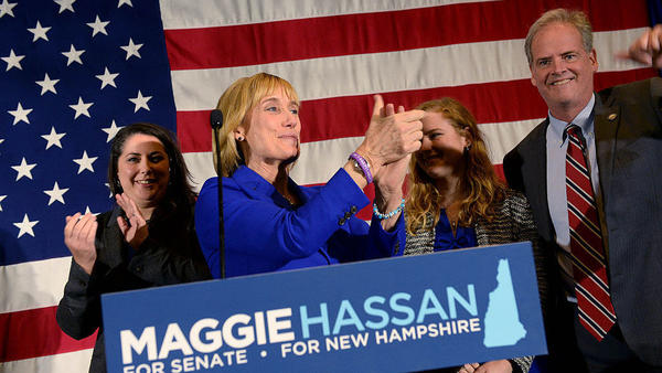 New Hampshire Gov. Maggie Hassan took the stage with her family to thank supporters on Tuesday night.
