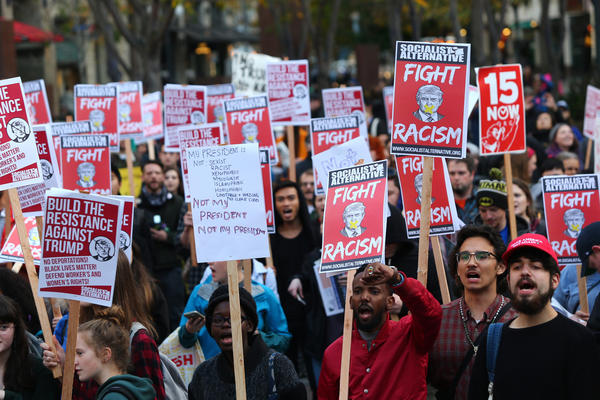 An anti-Trump rally is held on Wednesday in Seattle.