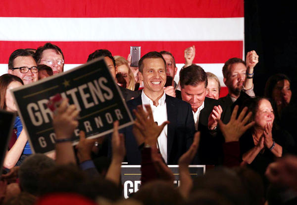 Republican Eric Greitens exults in his victory for Missouri governor.