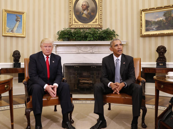 President Obama meets with President-elect Donald Trump in the Oval Office of the White House in Washington on Thursday.