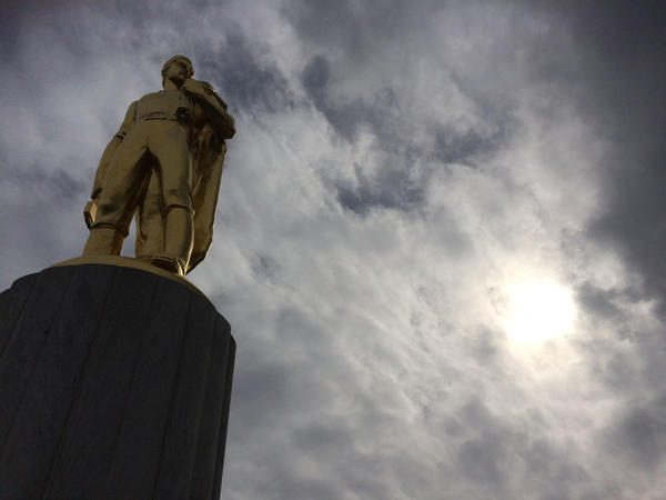 File photo of the Oregon Pioneer sculpture that sits atop the Oregon State Capitol in Salem.