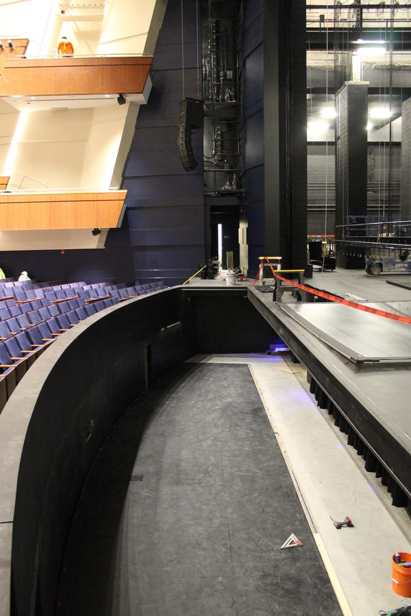 The orchestra pit under the new stage at Robinson Center.