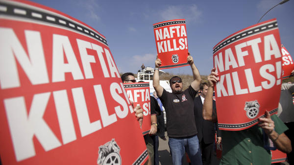 Teamsters union members in San Diego rail against the NAFTA trade deal in 2011.