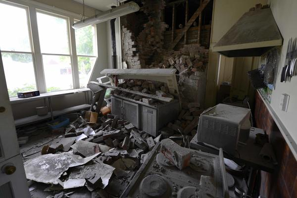The Waiau Lodge Hotel, in Waiau, about 75 miles north of Christchurch, New Zealand, shows damage on Monday in the aftermath of a strong earthquake.