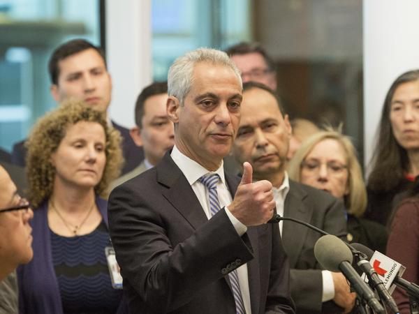 Chicago Mayor Rahm Emanuel speaks at a news conference in Chicago, saying that the outcome of the presidential election will not change Chicago's commitment as a sanctuary city for immigrants.