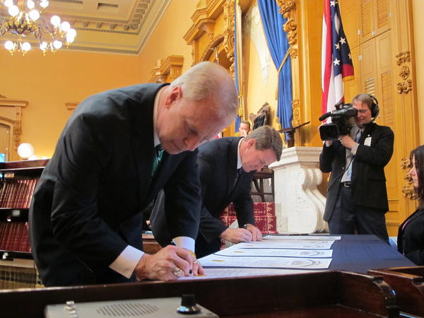 Former Gov. Ted Strickland and Secretary of State Jon Husted were electors in 2012.
