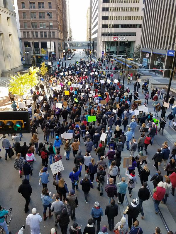 Black Lives Matter and Anti-Trump protesters march through Downtown Saturday afternoon.