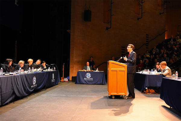 Washington state Attorney General Bob Ferguson argues the Arlene's Flowers appeal before the state Supreme Court Tuesday morning at Bellevue College.