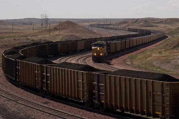 File photo of coal trains near Wyoming's North Antelope Rochelle Mine