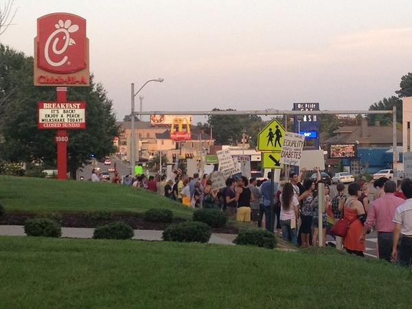 Protesters call for a boycott on Chick-Fil-A in 2012.