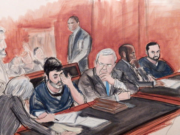Efrain Antonio Campo Flores, seated second from left, and his cousin Franqui Francisco Flores De Freitas, far right, were convicted by a federal jury in Manhattan of conspiracy to smuggle cocaine into the U.S.