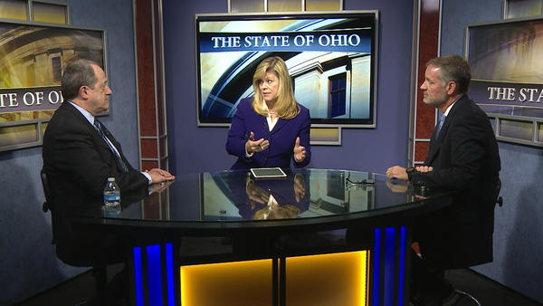 "Rep. David Leland (D-Columbus), former chair of the Ohio Democratic Party, and former Rep. Kevin DeWine (R-Fairborn), former chair of the Ohio Republican Party, appear on ""The State of Ohio""."