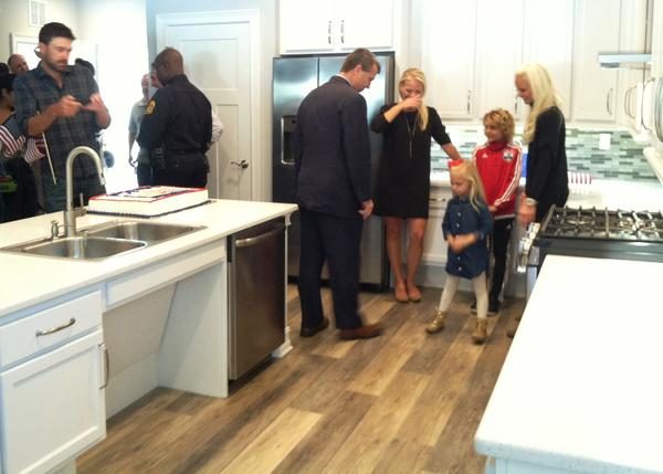The kitchen also is wide enough to make it easy for wheelchair to move around and slip under the kitchen sink.