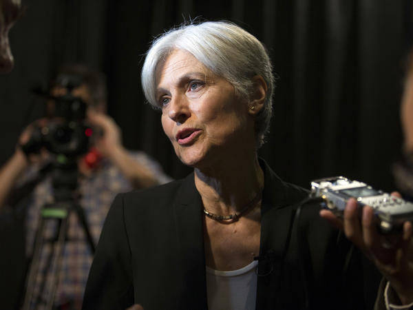 Green party presidential candidate Jill Stein answers questions from members of the media on Oct. 6 in Oakland, Calif.