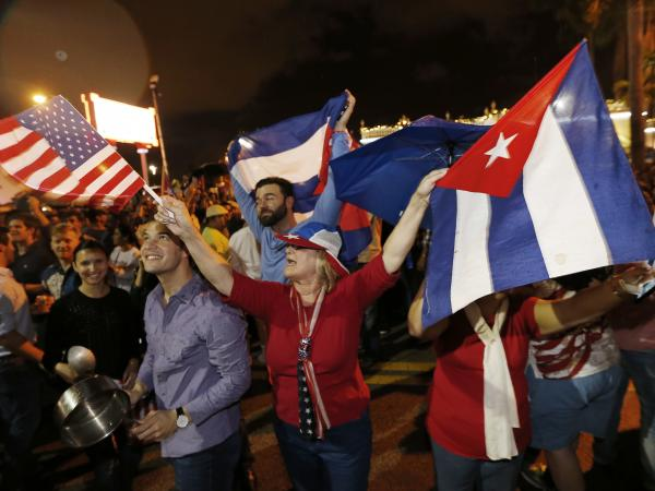 Cuban-Americans celebrate upon hearing about the death of longtime Cuban leader Fidel Castro in the Little Havana neighborhood of Miami, Fla., on Saturday.
