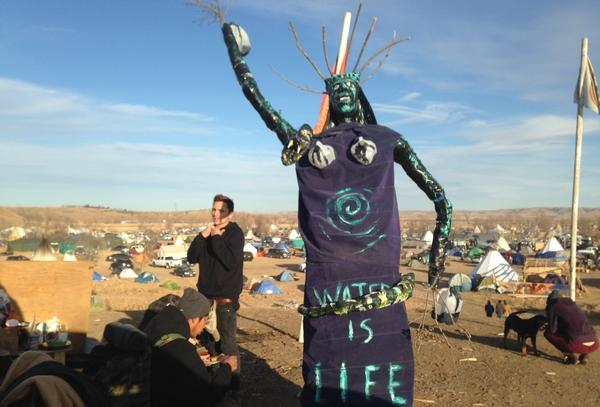 A sculpture stands at an encampment where protesters of the Dakota Access oil pipeline have been gathered for months near Cannon Ball, N.D., on Saturday.