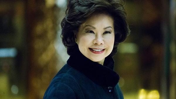 Elaine Chao arrived at Trump Tower last week to meet with President-elect Donald Trump. On Tuesday, he announced she was his pick to lead the Department of Transportation.
