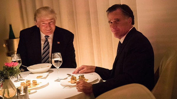 President-elect Donald Trump and Mitt Romney dine at Jean Georges restaurant on Tuesday evening.
