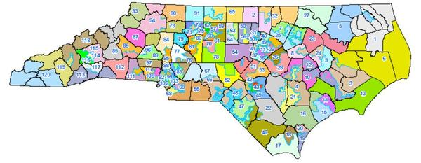 The NC House districts after the 2011 redistricting plan.