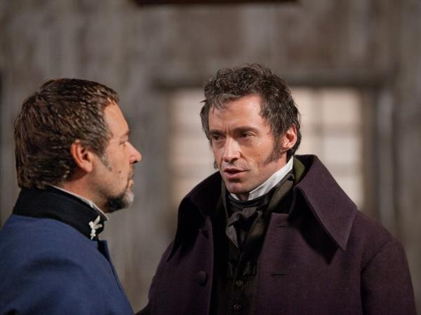 Inspector Javert (Russell Crowe) mercilessly tracks down reformed criminal Jean Valjean (Hugh Jackman).