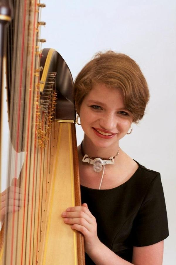 Katie Doderer hasn't let her medical condition keep her from playing the harp.