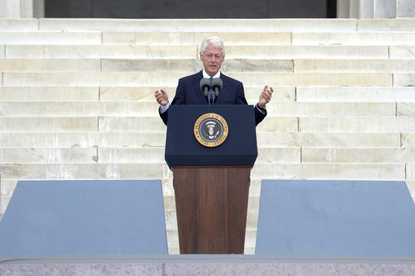 """Former President Bill Clinton tells the crowd that Americans today owe a tremendous debt to """"those people who came here 50 years ago."""" Millions of us, he said, have lived the dream King talked about."""