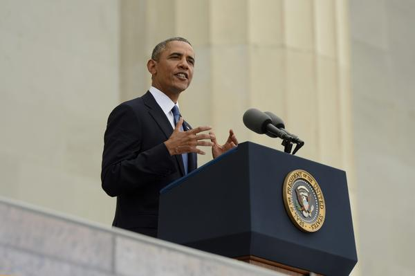 """President Obama spoke of the progress of the Rev. Martin Luther King's dream, in front of the Lincoln Memorial on Wednesday during the """"Let Freedom Ring"""" commemoration the March on Washington. It was the same spot where King delivered his historic """"I Have a Dream"""" speech 50 years ago."""