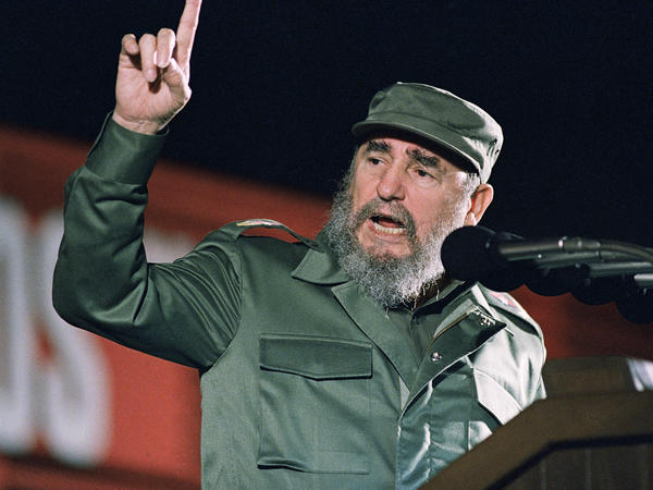 Cuban leader Fidel Castro speaks at the 30th anniversary of the communist revolution on Jan. 1, 1989, in Havana. Castro, 90, died Friday.