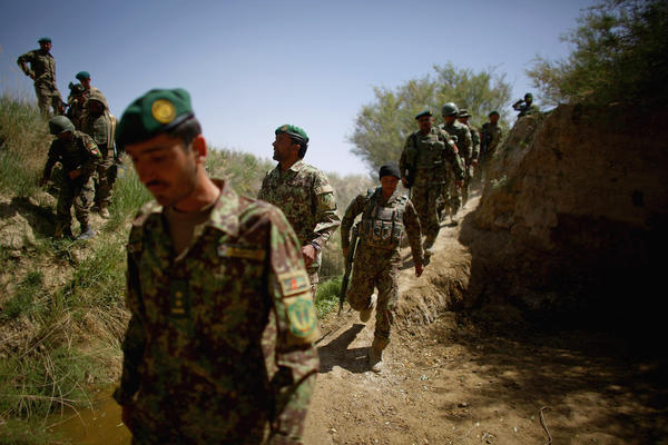 Afghan soldiers begin an early morning patrol in Zabul province in southern Afghanistan. A major operation against the Taliban is currently underway.