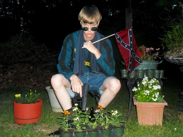 This undated image appeared on a website and is being investigated by the FBI in connection with Charleston, S.C., shooting suspect Dylann Roof.