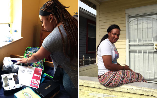(Left) Danielle Molett sorts through school supplies she purchased for her three children, a cost that absorbed most of that month's welfare check. (Right) Natasha Williams on the porch of her apartment in New Orleans. Last year, she was homeless and lived in her car, but she still didn't receive welfare.