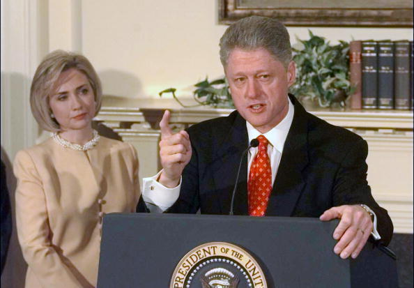 President Bill Clinton, First Lady Hillary Clinton looking on, addressed the Monica Lewinsky scandal in January 1998.