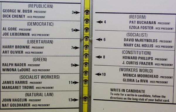 The ballot used in the 2000 presidential election in Palm Beach County, Fla. The ballot design left some voters concerned that they may have accidentally voted for Reform Party candidate Pat Buchanan instead of Democratic presidential candidate Al Gore.