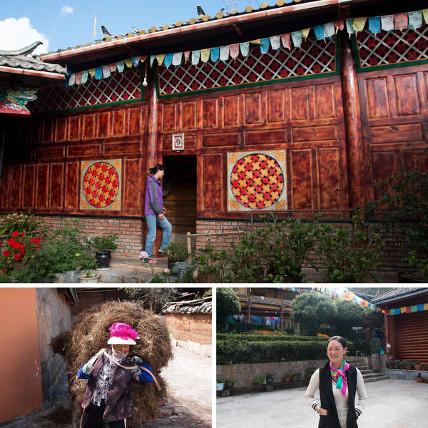 (Top) Geze Duoji's sister Danzeng Nongzuo enters her home. (Left) Zhaba Songding's mother Cili Zhuoma carries a load of hay home. (Right) Nazhu Zhuoma visits her husband's home.